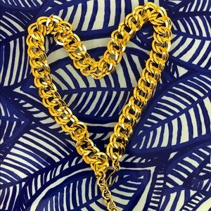 Vtg Monet GoldPlated Chunk Double Link Necklace